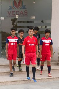 Former India captain Bhaichung Bhutia at BBFS North. (Photo courtey: Bhaichung Bhutia Football Schools)