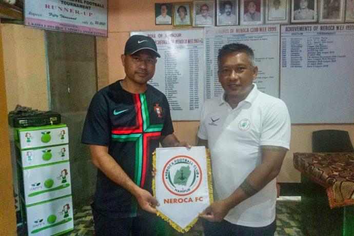 NEROCA FC present their new assistant coach Leisangthem Raman Singh. (Photo courtesy: NEROCA FC)