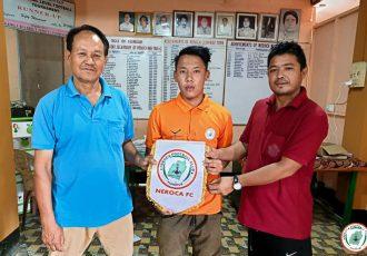 NEROCA FC present their new midfielder Ngathem Arnold Singh. (Photo courtesy: NEROCA FC)