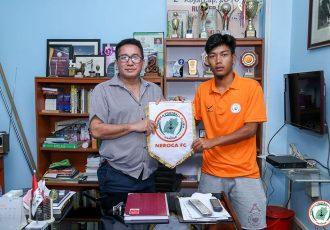 I-League side NEROCA FC presenting new signing Songpu Singsit. (Photo courtesy: NEROCA FC)