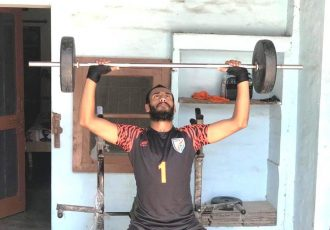 Former India U-17 MNT goalkeeper Prabhsukhan Gill during training at his homemade gym. (Photo courtesy: AIFF Media)