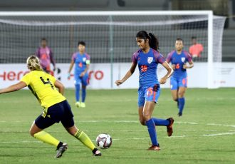 Indian U-17 Women's national team striker Sai Sankhe in action against the Sweden U-17 WNT. (Photo courtesy: AIFF Media)