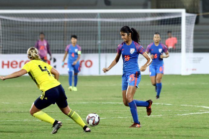 Indian U-17 Women's national team striker Sai Sankhe in action against the Sweden U-17 WNT. (Photo courtesy: AIFF Media)