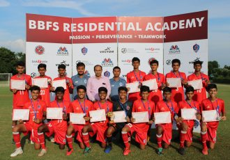Students of the BBFS Residential Academy and Vedas International School. (Photo courtey: Bhaichung Bhutia Football Schools)