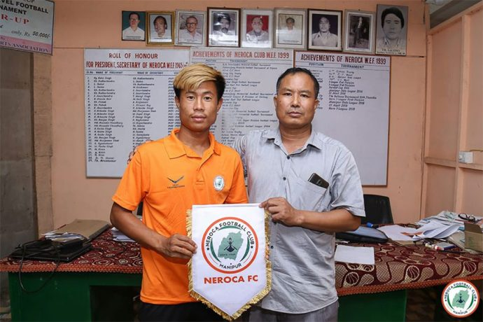 NEROCA FC present their latest signing Wakambam Michael. (Photo courtesy: NEROCA FC)