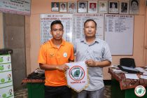 NEROCA FC present their new signing Wangkheimayum Olen Singh. (Photo courtesy: NEROCA FC)