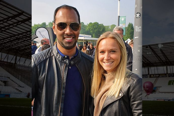 Chris Punnakkattu Daniel and Germany Women's international Turid Knaak. (© CPD Football)