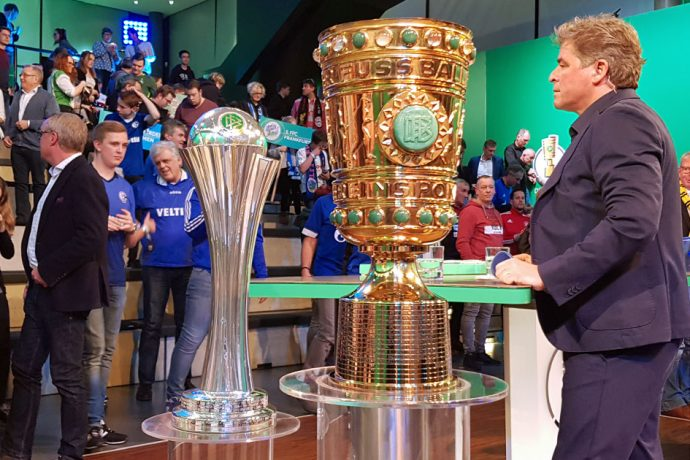 The winner's trophies of the Women's DFB Cup (DFB-Pokal der Frauen) and Men's DFB Cup (DFB-Pokal). (Photo © CPD Football)