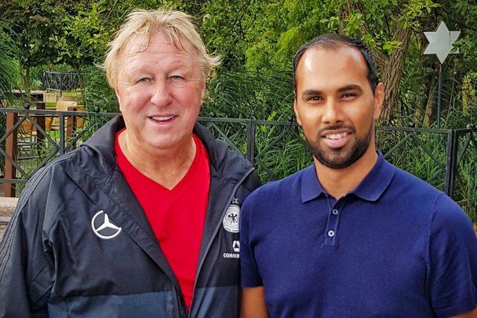 Horst Hrubesch and Chris Punnakkattu Daniel (Photo © CPD Football)