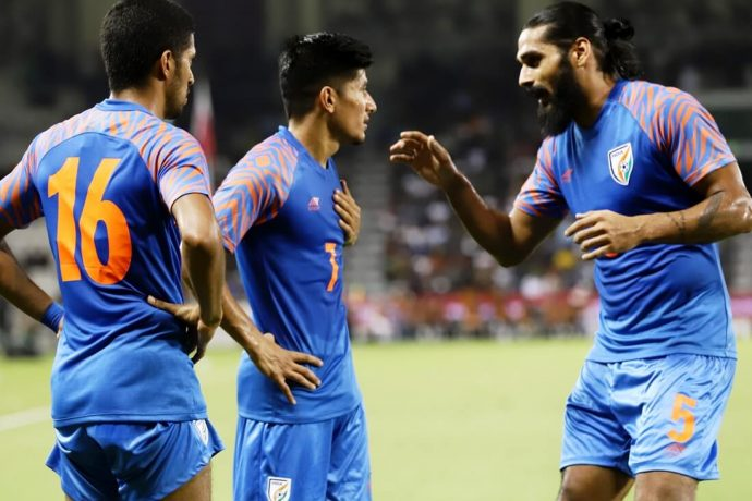 Indian national team defender Sandesh Jhingan (right) during an discussion with Anirudh Thapa. (Photo courtesy: AIFF Media)