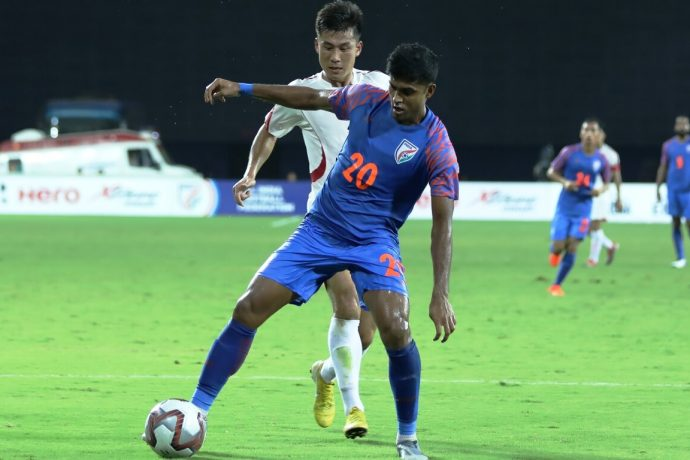 Pritam Kotal in action for the Indian national team. (Photo courtesy: AIFF Media)