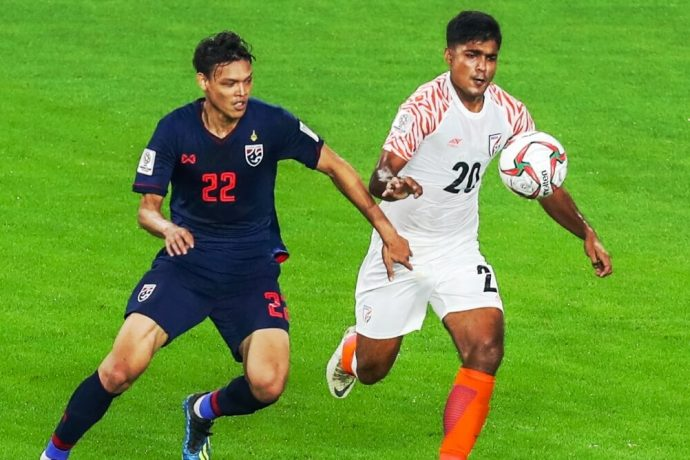 Indian national team defender Pritam Kotal in action against Thailand in the AFC Asian Cup UAE 2019. (Photo courtesy: AIFF Media)