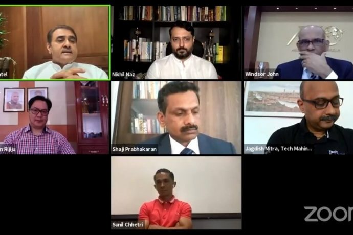 Football Delhi eSummit Planery Session featuring Kiren Rijiju, Sunil Chhetri, Praful Patel, Dato' Windsor John, Dr. Shaji Prabhakaran and Nikhil Naz. (Photo courtesy: AIFF Media)