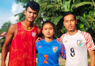 India's goal-scorer at the 2017 FIFA U-17 World Cup Jeakson Singh Thounaojam, India U-17 Women's national team probable Kritina Devi and India's captain in the 2017 FIFA U-17 World Cup Amarjit Singh Kiyam. (Photo courtesy: AIFF Media)