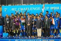 The Indian national team celebrating their AFC Challenge Cup 2008 title. (Photo courtesy: AIFF Media)