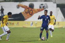 Amarjit Singh Kiyam in a India U-17 national team match against Brazil U-17. (Photo courtesy: AIFF Media)