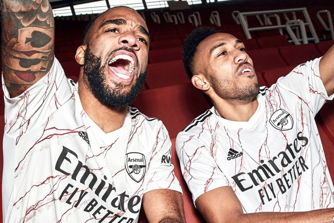 The new Arsenal FC away kit for the 2020/21 season is inspired by the iconic marble halls of Highbury's East Stand. (Photo courtesy: adidas)