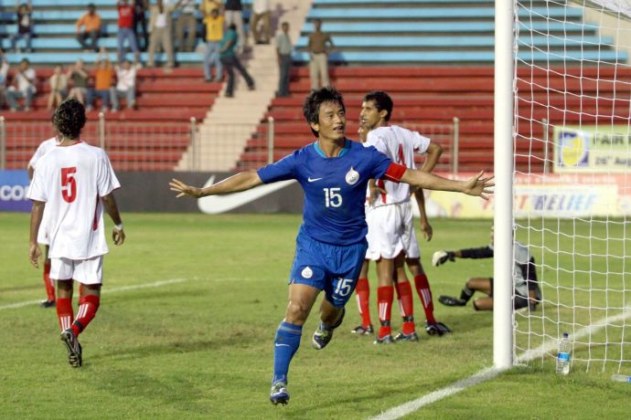 File picture of former India captain Bhaichung Bhutia celebrating one of his goals at the Ambedkar Stadium in Delhi. (Photo courtesy: AIFF Media)