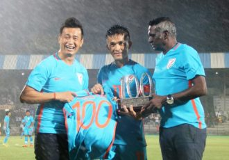 Indian football legends Bhaichung Bhutia, Sunil Chhetri and IM Vijayan. (Photo courtesy: AIFF Media)