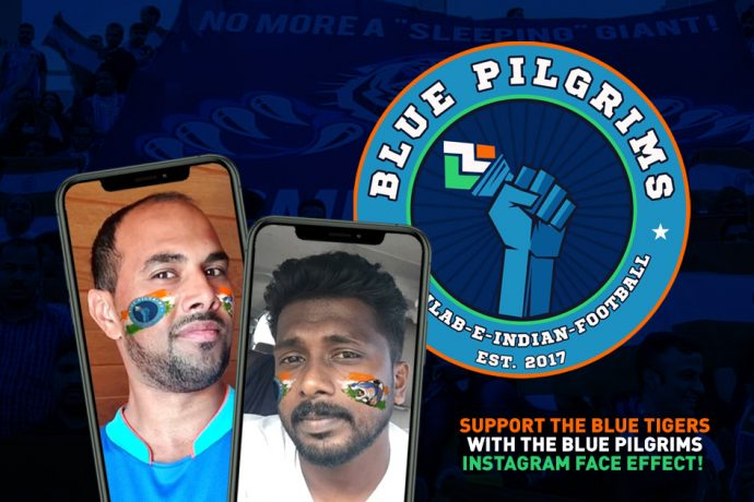 Former India star NP Pradeep and Chris Punnakkattu Daniel (CPD Football) present the new Blue Pilgrims Instagram face effect.