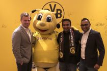 Borussia Dortmund's Senior Manager - Internationalisation & New Business Max-Jannis Foerster, BVB mascot Emma, Hyderabad FC co-owner Varun Tripuraneni and BVB APAC Managing Director Suresh Letchmanan. (Photo courtesy: Hyderabad FC)