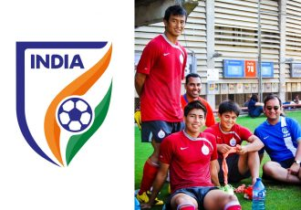 Indian national team camp in Barcelona, Spain (2009) - left to right: Bhaichung Bhutia, Chris Punnakkattu Daniel, Renedy Singh, Sunil Chhetri and Arunava Chaudhuri. (© CPD Football)