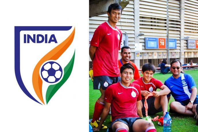 Indian national team camp in Barcelona, Spain (2009) - left to right: Bhaichung Bhutia, Chris Punnakkattu Daniel, Renedy Singh, Sunil Chhetri and Arunava Chaudhuri. (© CPD Football)