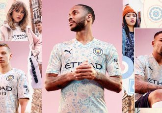 The Manchester City FC third jersey features a stunning paisley pattern inspired by Manchester's rich musical heritage and fashion culture. (Photo courtesy: Manchester City FC)