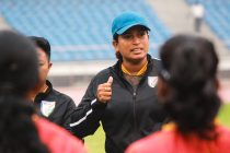 Indian Women's national team head coach Maymol Rocky addressing her players during a training session. (Photo courtesy: AIFF Media)