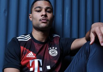 Serge Gnabry presents the FC Bayern Munich third kit, which pays homage to the club's home, the Allianz Arena, with a bold red diamond graphic print. (Photo courtesy: adidas)