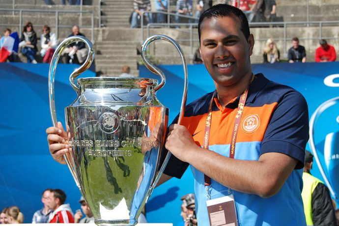 Chris Punnakkattu Daniel with the UEFA Champions League trophy at the sidelines of the UEFA Champions League Final 2012. (© CPD Football)
