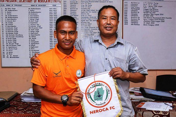 NEROCA FC central midfielder Akbar Khan during his presentation. (Photo courtesy: I-League Media)