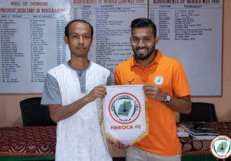NEROCA FC present their new goalkeeper Rahul Yadav. (Photo courtesy: NEROCA FC)