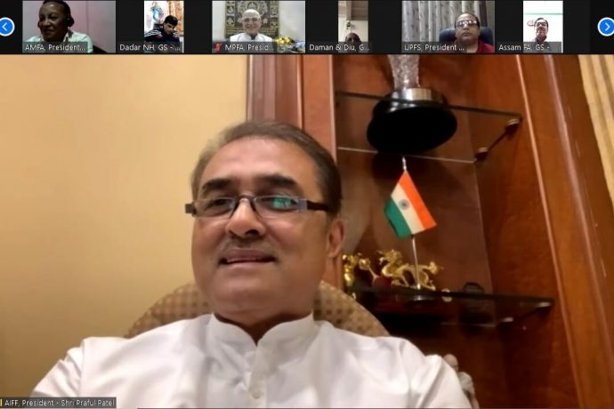 All India Football Federation President Praful Patel during a video meeting with State Association representatives. (Photo courtesy: AIFF Media)
