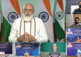 Prime Minister Shri Narendra Modi during the Fit India Dialogue. (Photo courtesy: AIFF Media)