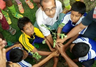 Tree plantation conducted by participants of the Golden Baby League in Islampur, India. (Photo courtesy: AIFF Media)