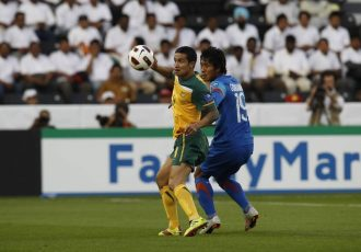 Indian national team defender Gouramangi Moirangthem Singh in action against Australia's Tim Cahill in an AFC Asian Cup Qatae 2011 match. (Photo courtesy: AIFF Media)