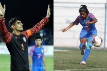 AIFF Player of the Year Award winners Gurpreet Singh Sandhu and Sanju Yadav. (Photo courtesy: AIFF Media)