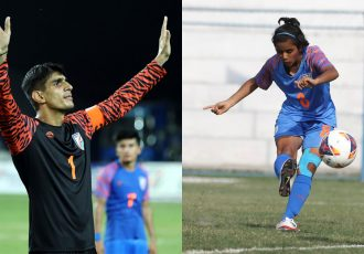 AIFF Player of the Year Award winners Gurpreet Singh Sandhu and Sanju Yadav. (Photo courtesy: AIFF Media)