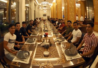 Indian national team players and officials during a team dinner. (Photo courtesy: AIFF Media)
