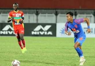 Indian youth international Bikash Yumnam in action for the Indian Arrows. (Photo courtesy: AIFF Media)
