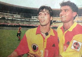 File picture of Carlton Chapman and Dipendu Biswas during their times at East Bengal Club. (Photo courtesy: AIFF Media)