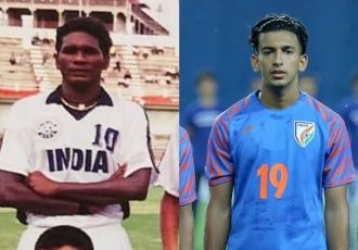 India legend IM Vijayan and Indian national team midfielder Sahal Abdul Samad. (Photo courtesy: AIFF Media)