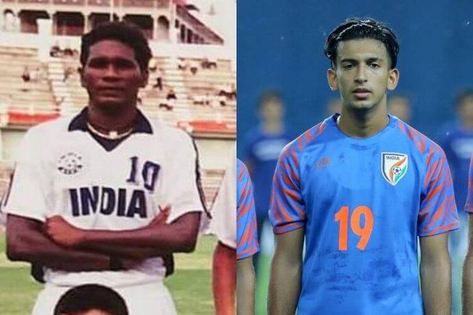 India legend IM Vijayan and Indian national team midfielder Sahal Abdul Samad. (Photo courtesy: AIFF Media)