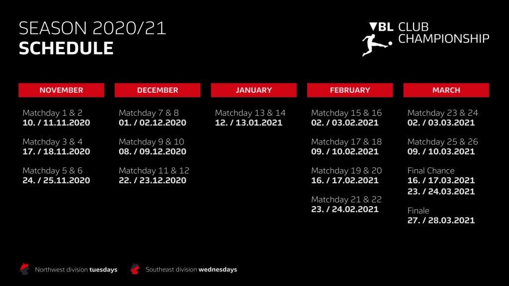 Virtual Bundesliga: VBL Club Championship - Season 2020/21 - Schedule (Image courtesy: DFL Deutsche Fußball Liga)