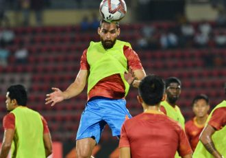 Adil Ahmed Khan during an Indian national team pre-match warm-up session. (Photo courtesy: AIFF Media)