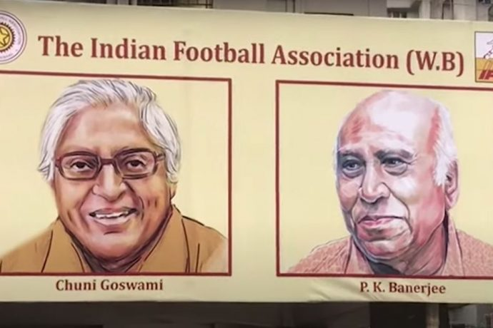 A hoarding that commemorates two of the greatest footballers that the country has produced in its history: Chuni Goswami and PK Banerjee. (Photo courtesy: AIFF Media)