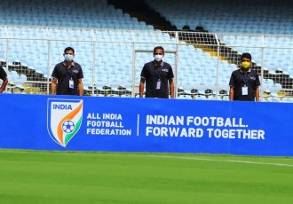 Referees keep moving forward together as new normal sets in for Indian football with the Hero I-League Qualifier 2020. (Photo courtesy: AIFF Media)