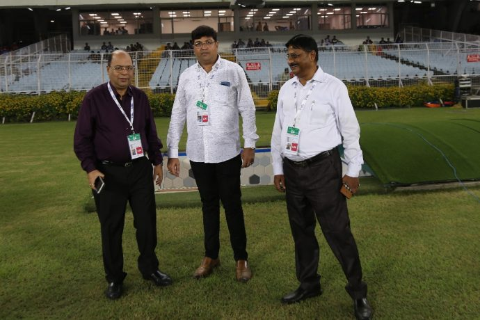 AIFF Senior Vice President Subrata Dutta (left) and IFA General Secretary Joydeep Mukherjee (center) at the sidelines of the Hero I-League Qualifier 2020 in Kolkata. (Photo courtesy: AIFF Media)