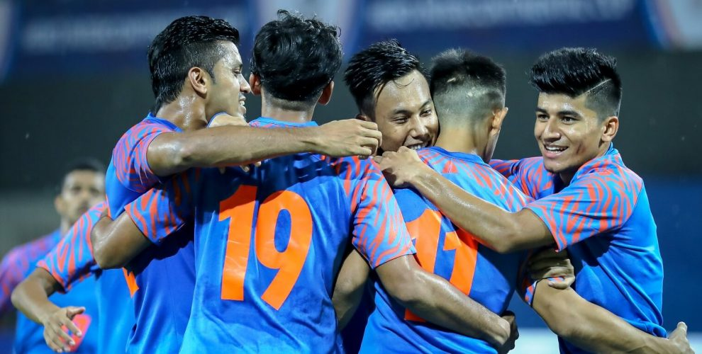 Indian national team players celebrate a goal. (Photo courtesy: AIFF Media)